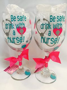 "Be Safe Drink with a Nurse Wine Glass, nurse wine glass (one glass). This is for a single wine glass that reads ""Be Safe Drink With a Nurse"" and has a stethascope and heart on it. Diy Wine Glasses, Decorated Wine Glasses, Painted Wine Bottles, Painted Wine Glasses, Extra Large Wine Glass, Wine Parties, Custom Tumblers, Drinking Glass, Hand Painted"