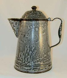 Antique Agateware or Graniteware Large Coffee Pot Domed Lid and Finial