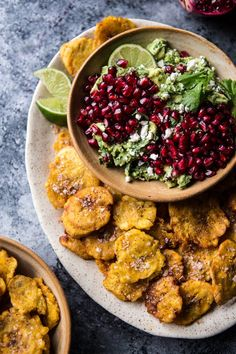 Pin for Later: 20 Freaking Delicious Ways to Use Plantains Pomegranate Guacamole With Fried Plantain Chips Get the recipe: pomegranate guacamole with fried plantain chips