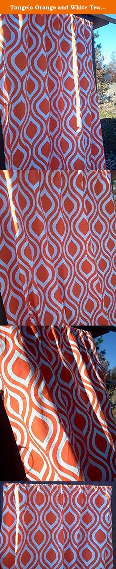 """Tangelo Orange and White Teardrop Full Length Curtains, Orange Teardrop Valance Curtains, 100% quality cotton Slub Premier Prints drapery fabric These curtains are 84"""" Long by 52"""" Wide. Tangelo Orange and White Full Length Teardrop Curtains, 52"""" Wide by 84"""" Long; 100% quality cotton duck, Premier Prints home décor weight drapery fabric. Please allow 7-14 days for delivery, as the curtains are handmade after your purchase to keep inventory costs low. Keeping inventory costs low helps keep…"""