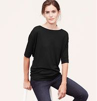 Petite Dolman Sleeve Tee - We love the style of shorter dolman sleeve - it adds that utterly perfect slouch. Boatneck. Short dolman sleeves. Banded neckline, cuffs and hem.