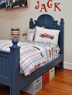I'm not sure which bed I'm going to use for Ezra's big boy room but I like the idea of painting it to go with my scheme.