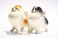 Pomeranian dog porcelain figurine handmade statuette by RussianArtDogs on Etsy