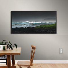 "Latitude Run Illuminated Breaking Wave Framed Photographic Print Size: 18"" H x 36"" W x 2"" D"
