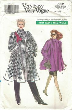 Modern Sewing Patterns, Vogue Sewing Patterns, Coat Patterns, Vintage Patterns, Big Shoulders, Swing Coats, Vintage Vogue, Coats For Women, Fit And Flare