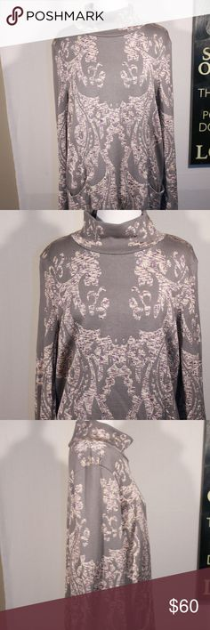 Free People Tunic Dress with Detail and Pockets Truly a beautiful dress! This Free People grey dress with purple and white detailing is very comfortable and keeps your nice and warm! Free People Dresses Long Sleeve