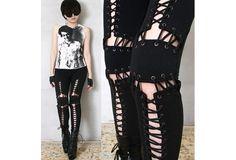 Punk Armor Corset Laceup Cotton Low Rise Black Stretch Pants Legging Rock Chic