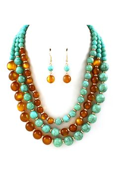 Milla Necklace in Turquoise on Caramel