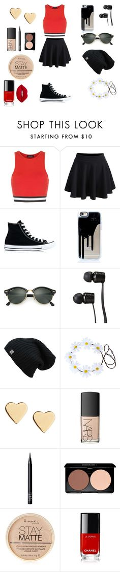 """red"" by alexandra-cooper on Polyvore featuring New Look, WithChic, Converse, Ray-Ban, Vans, Lipsy, NARS Cosmetics, Rimmel and Lime Crime"