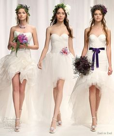 i think it would be fun to have the bridesmaids wear short white dresses that look like they could be a wedding dress as well, and spice them up with accessories like this!