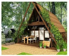 Khaoyai cabin Lovely Architecture Modern Small House Design Ideas 22 Reducing Energy Costs Future na Modern Small House Design, Small Modern Home, A Frame Cabin, A Frame House, Cute Small Houses, Triangle House, Casas Shabby Chic, Charming House, Cabins And Cottages
