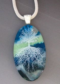 Oval Fused Glass Pendant,  Stone Look Glass Pendant -Tree of Life Fused Glass Pendant. $28.00, via Etsy.