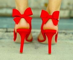 Red heels with a bow