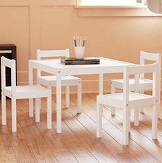 White stylish wood kids table and chairs set. Great for kids many different indoor and outdoor activities. Product materials: Main parts: Solid pine Table top/ Seat: Fiberboard, Acrylic paint This ...