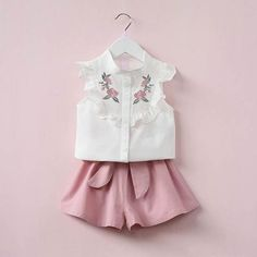 f90c1f3a9d915a 2PC Sleeveless Top and Shorts. Kids Outfits GirlsShirts ...