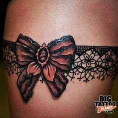 Only the best free Garter Tattoos For Women tattoo's you can find online! Garter Tattoos For Women tattoo's to print off and take to your tattoo artist. Cute Thigh Tattoos, Lace Bow Tattoos, Hip Tattoos Women, Thigh Tattoo Designs, Lace Tattoo, Leg Tattoos, Body Art Tattoos, Cool Tattoos, Garter Tattoos