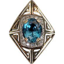 """ERTE """"MAGIQUE"""" 14k gold Blue Topaz Ring State 11 - CFA Erte Ring Box  Art Deco"""