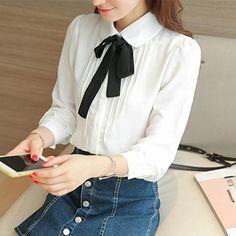 4e4c497e sankill Sweet Lady Bow Tie White Long Sleeve Button Down Shirt Chiffon  Blouse at Amazon Women's