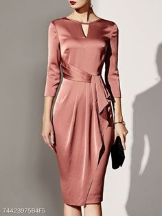 c23c01943a9 Elegant Women Plain Bodycon nude-pink Dress for any special occasion