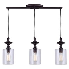 Buy the Canarm Oil Rubbed Bronze Direct. Shop for the Canarm Oil Rubbed Bronze York 3 Light Wide Linear Pendant and save. Oil Rubbed Bronze, Kitchen Island Pendants, 3 Light Pendant, Ceiling Lights, Exterior Light Fixtures, Bronze Pendant Light, Pendant Lighting, Chandelier, Clear Glass