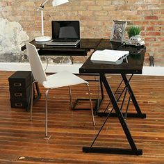 Bring a contemporary accent to your home office or study space with this Forest Gate Glass Corner Computer Desk. Boasting a sleek, glass finish with a powder coat, this piece merges attraction and function to lend refined beauty to your room of choice. L Shaped Office Desk, L Shaped Desk, Black Corner Desk, Top Computer, Wall Mounted Desk, Floating Desk, Lap Desk, Work Desk, Desk With Drawers