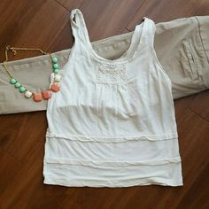 Loft girly white tank Really pretty girly white tank. Worn once! Great condition. LOFT Tops Tank Tops