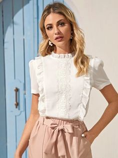 White Elegant Stand Collar Short Sleeve Chiffon Plain Non-stretch Summer Blouses, size features are:Bust: ,Length: Regular ,Sleeve Length:Short Sleeve Fashion News, Fashion Outfits, Lace Ruffle, Ruffle Trim, Ruffle Blouse, Looks Chic, Summer Blouses, Blouse Online, Chiffon Fabric