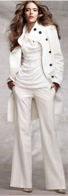 Oooh, LOVE. cowl neckline shirt, pea coat & boot cut pants...and the all white makes a pretty big statement...