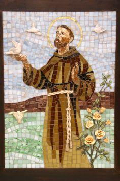 São Francisco em micro mosaico e detalhes em argila modelada... By Rose Sandri Hellu