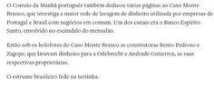 ★Lavagem de dinheiro envolve Brasil e Portugal.