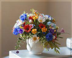 """Купить Букет """"Лето в деревне"""" - незабудки, ноготки, ромашки, букет полевых цветов, полимерная глина"""