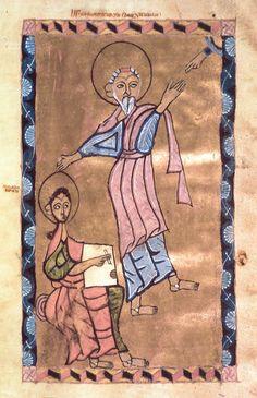 MINIATURES - Erevan, Matenadaran, MS 4823, Gospel, 1224, Khoranashat Monastery, Artsakh, St. John with Prokhoros. Photo: Ara Güler