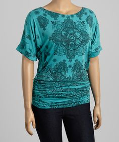 Loving this Poliana Plus Teal & Black Floral Medallion Top - Plus on #zulily! #zulilyfinds