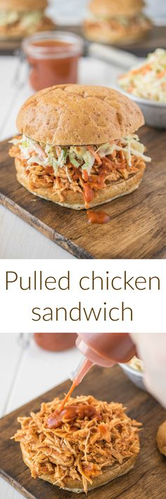 Pulled chicken sandwich. Tender chicken breasts slow roasted in spices and served on a bun with bbq sauce and coleslaw.