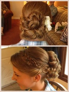 Updo with braid - done by Torrie Yanz Hairstlyist at Cutters Point East in East Lansing, MI