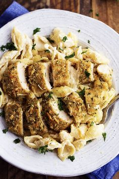 "do-not-touch-my-food: "" Parmesan Garlic Crusted Chicken with Garlic Alfredo Shells "" Parmesean Crusted Chicken, Garlic Chicken, Garlic Parmesan, Parm Chicken, Parmesan Pasta, Chicken Broccoli, Pasta Dishes, Food Dishes, Main Dishes"