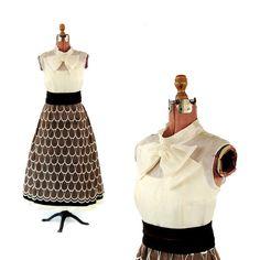 Robe de soirée Vintage 1960 Organza pure festonné en mousseline de soie nœud papillon Prom Party M by GreatLakeOutfitters on Etsy