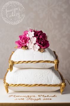 Chic and stylish cushion cake with pink roses by Juniper Cakery