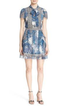 Diane von Furstenberg 'Marisa' Print Silk Tie Neck Dress available at #Nordstrom