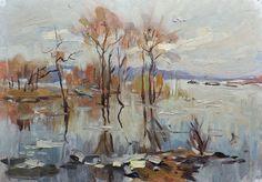 Original Oil Antique Artwork by a Soviet Ukrainian artist Farm Paintings, Socialist Realism, National Art, Spring Landscape, Autumn Forest, Impressionist Art, State Art, Original Art, Oil