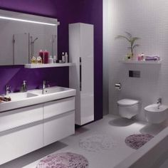 groß small bathroom storage ideas is agreed important for your home. Whether you choose the remodeling bathroom ideas or bathroom remodel beadboard, you wi. Small Bathroom Storage, Bathroom Styling, 72 Inch Bathroom Vanity, Restroom Design, Purple Bathrooms, Diy Bathroom Remodel, Bathroom, Bathrooms Remodel, Bathroom Decor