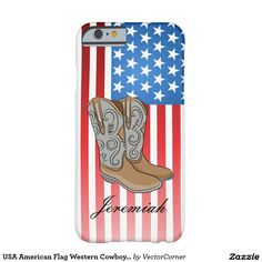 USA American Flag Western Cowboy Boots Barely There iPhone 6 Case