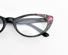 Reading Glasses Pink Flamingo +1.25 Cat eye style frames Black frames with hand painted pink flamingos Readers +1.25