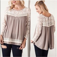The VALENCIA lace baby doll top - TAUPE ️HP 5/12AVAILABLE in TAUPE & BLACK (Only size S ️AVAILABLE). Super cute design. Light material. Perfect for spring! Slit open back design‼️️NO TRADE, PRICE FIRM‼️ Bellanblue Tops Tees - Long Sleeve