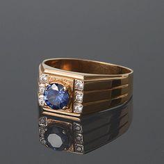 Gold men ring Blue stone ring Art deco men ring by JewelryAsteria