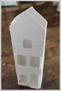 Snow Village Lamp - Fillable glass lamp idea using homemade Putz houses!