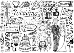 Wedding doodles Royalty Free Stock Vector Art Illustration Doodle Wedding, Wedding Website Design, Good Ma, Just Married Car, Wedding Graphics, Deep Quotes About Love, What To Draw, Diy Wedding Projects, Free Vector Art