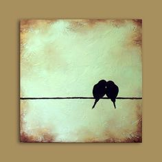 birds on a telephone wire painting - Google Search