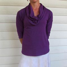 Organic Cowl Neck Shirt - Royal Purple / Seven Sages A Line Cut, Cowl Neck, Hemline, Turtle Neck, Organic, Purple, Sleeves, Sweaters, Shirts