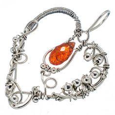 "Large Sunstone Heart 925 Sterling Silver Pendant 2 1/8"" PD587902"